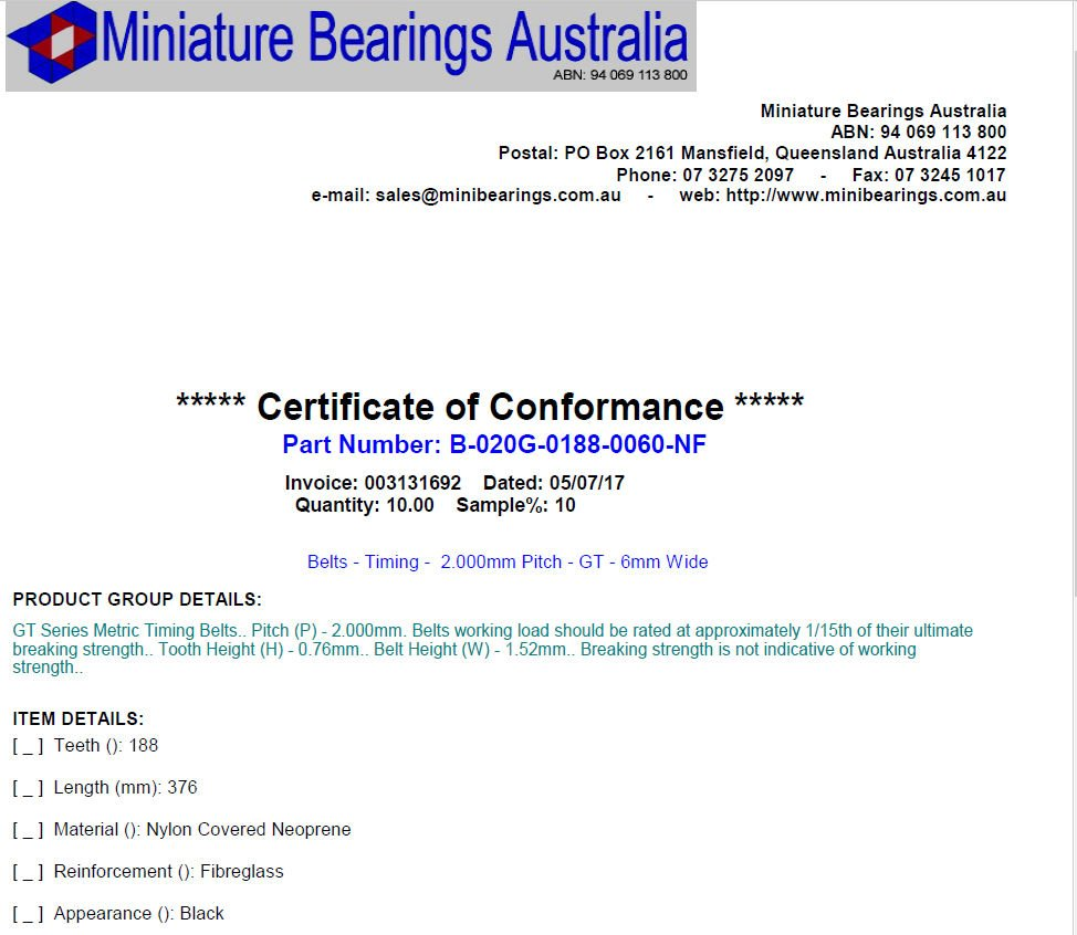 Certificates of Conformance